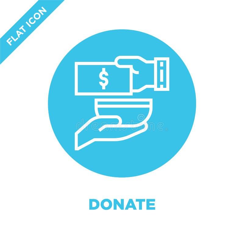 donnez le vecteur d'icône de la collection d'éléments de charité La ligne mince donnent l'illustration de vecteur d'icône d'ensem illustration libre de droits