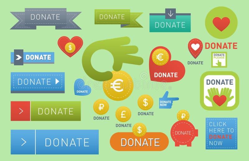 Donnez le vecteur de boutons le signe de conception d'isolement par charité que réglée de soutien de cadeau de donation d'icône d illustration de vecteur