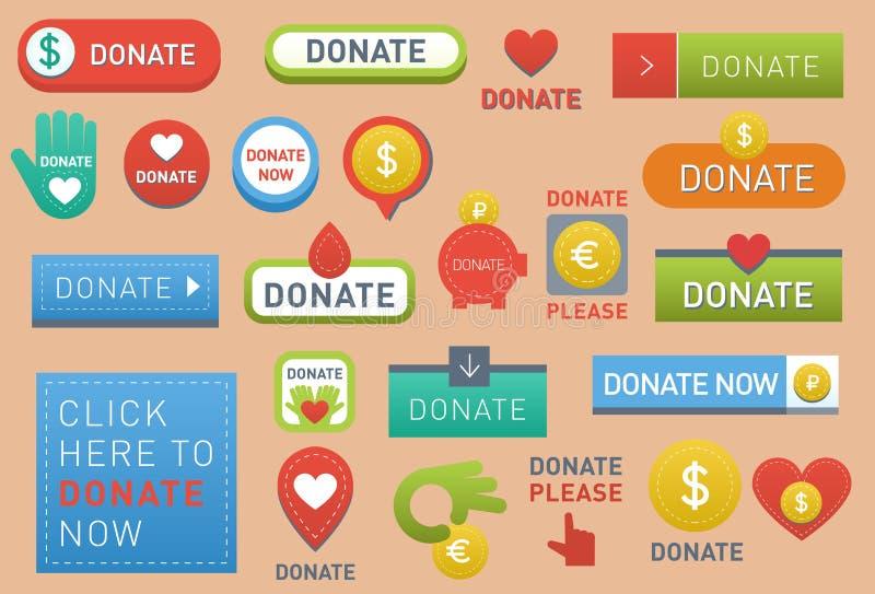 Donnez le vecteur de boutons le signe que réglé de conception de soutien de charité de cadeau de donation d'icône d'aide d'illust illustration stock