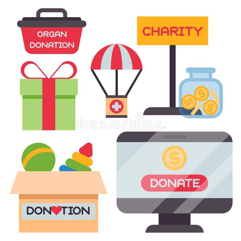 Donnez le vecteur de soutien d'humanité de philanthropie de charité de contribution de donation de philanthropie d'aide de symbol illustration stock