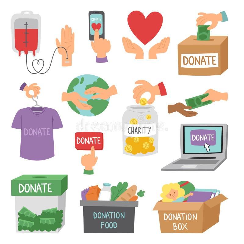 Donnez le vecteur réglé de soutien d'humanité de symboles de philanthropie de charité de contribution de donation de symboles d'a illustration stock