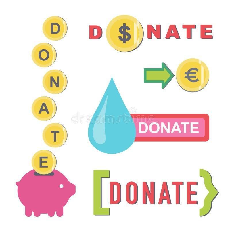 Donnez les boutons r?gl?s Donation d'ic?ne d'aide illustration stock