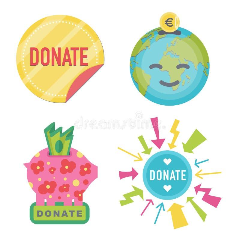 Donnez les boutons r?gl?s Donation d'ic?ne d'aide illustration de vecteur