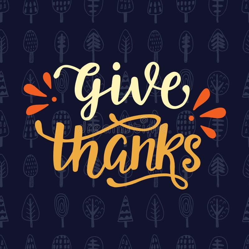 Donnez les mercis Affiche de jour de thanksgiving illustration de vecteur
