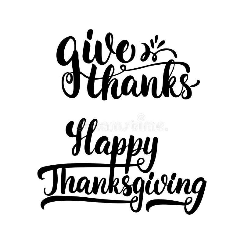 Donnez les mercis et le thanksgiving heureux - expression de calligraphie de lettrage avec des feuilles Carte de voeux d'automne  illustration de vecteur