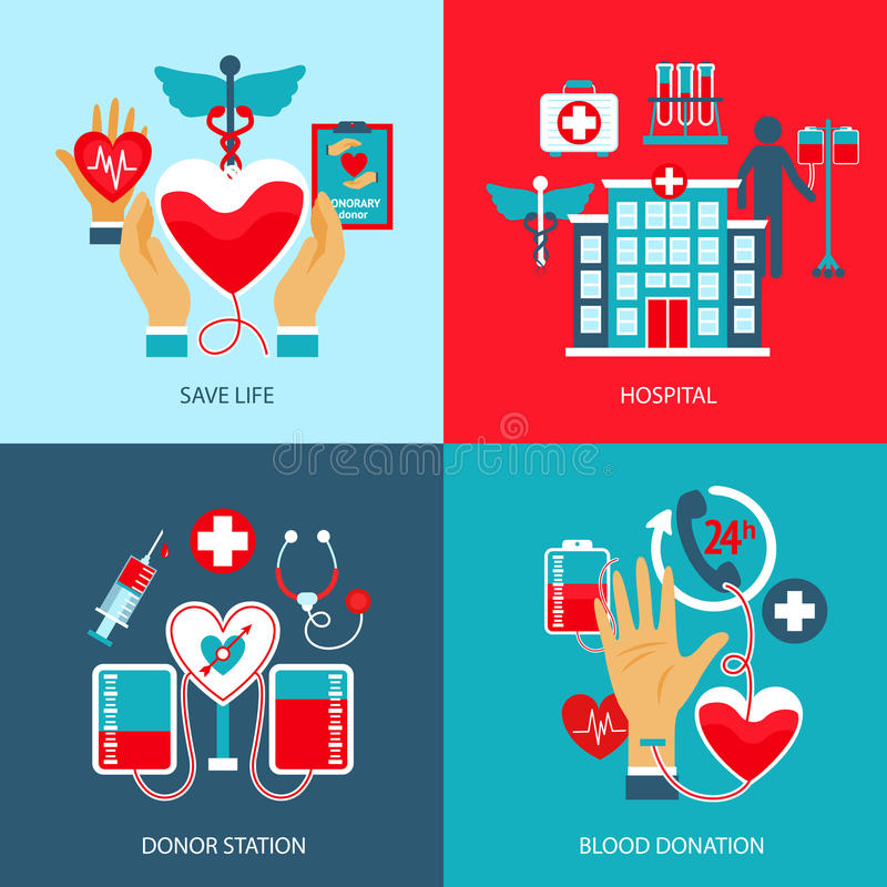 Donor Concept Set. Donor design concept set with life save hospital blood station donation flat icons isolated vector illustration stock illustration