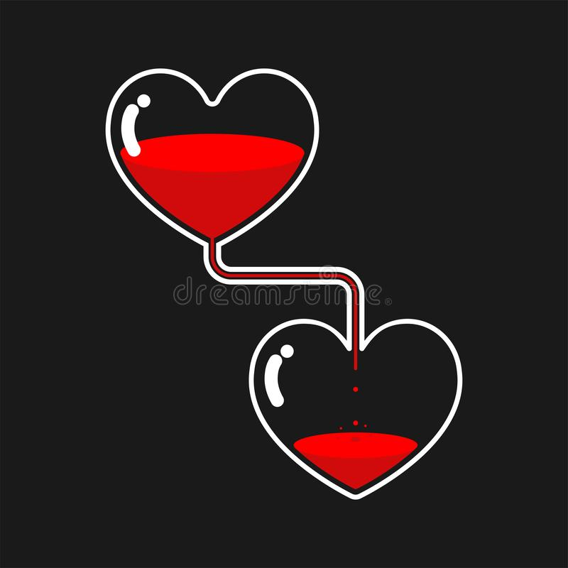 Donordag Schenkingsillustratie van bloedtransfusie Hart Gla vector illustratie
