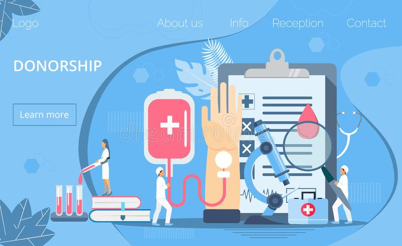 Donorship, world blood donor day concept  with tiny doctors, blood drop, microscope, tubes. Medical illustration on June 14. It is for website, landing page vector illustration