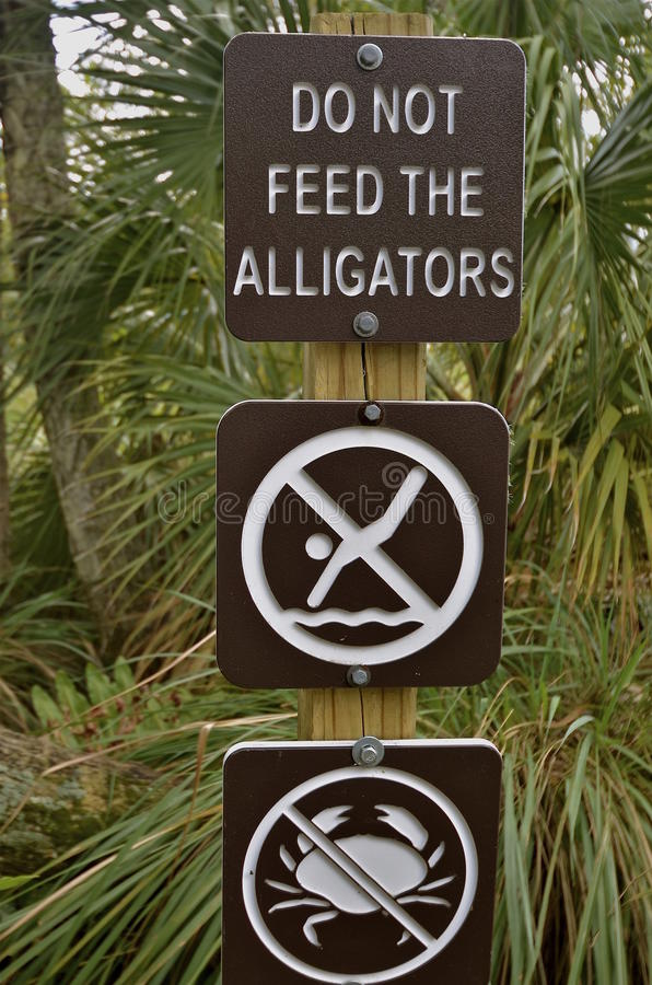 Dont Feed Alligators Sign stock photography