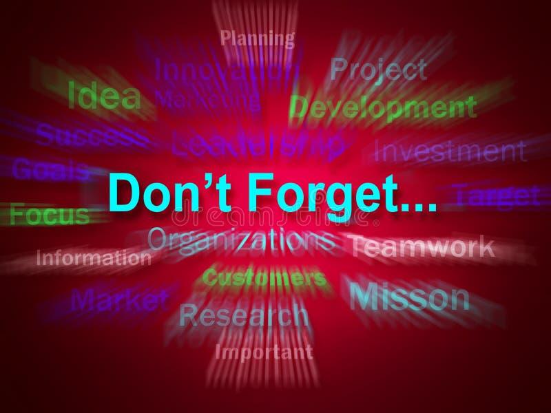 Dont Forget Brainstorm Displays Remembering Business Components. Dont Forget Brainstorm Displaying Remembering Business Components royalty free illustration