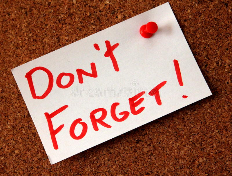 Dont forget! stock images