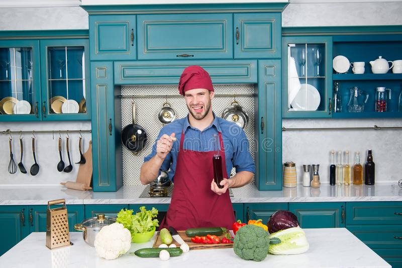 Dont like smell. young chef cook on kitchen. significant source of nutrients. weight loss product. add to your diet royalty free stock photos