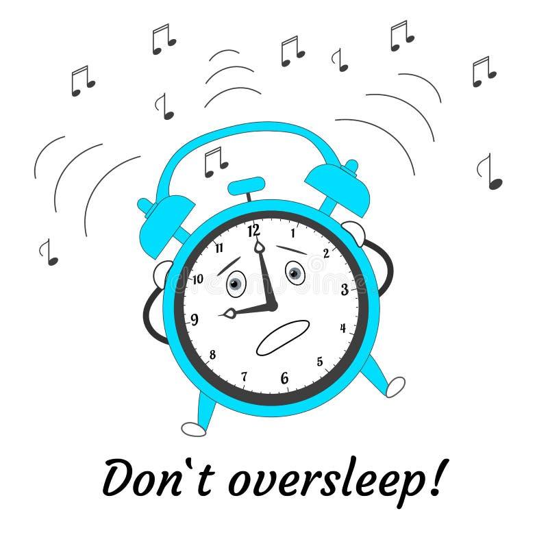 Dont oversleep. Cartoon jumping crazy alarm clock. Vector illustration. Dont oversleep. Cartoon jumping crazy alarm clock isolated on white background. Vector vector illustration