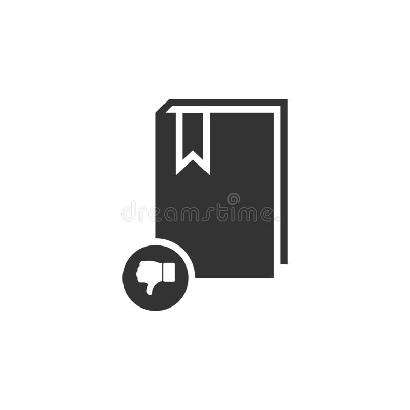 Dont read book icon flat. Dont read book. Black Icon Flat on white background stock illustration
