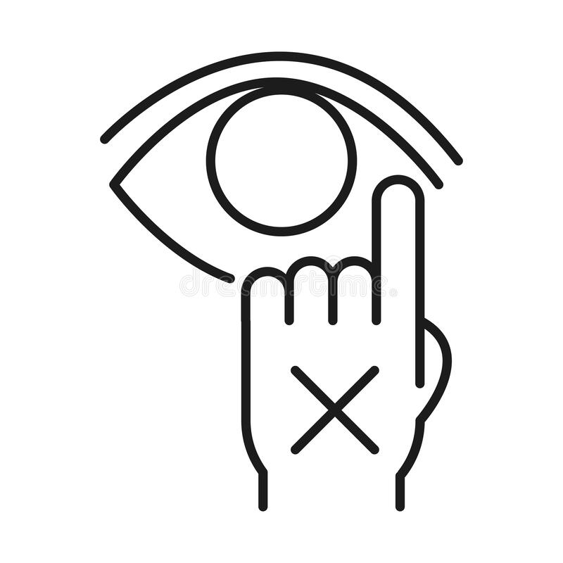 Free Dont Touch Your Eye Line Style Icon Vector Design Royalty Free Stock Photography - 184276067