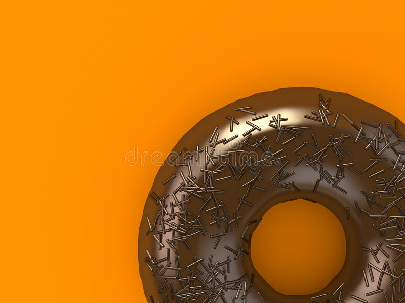 Donut. A chocolate donut sprinkled with chips stock illustration