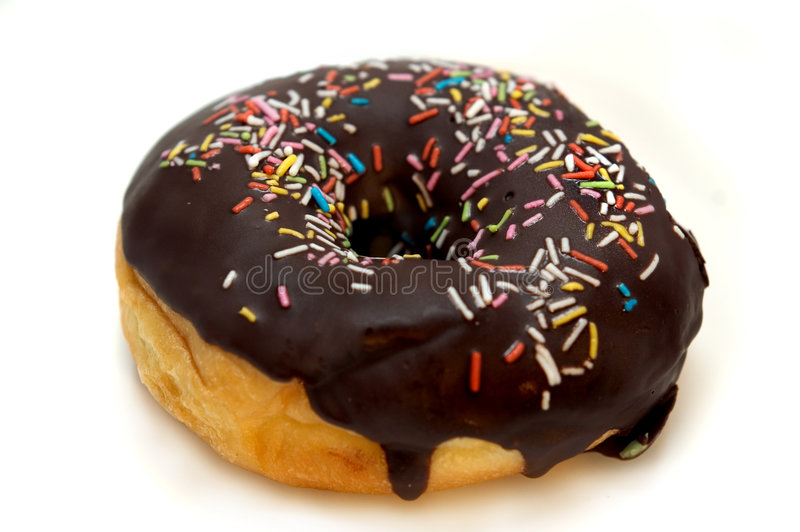 Donut. Chocolate donut with chip stock photo