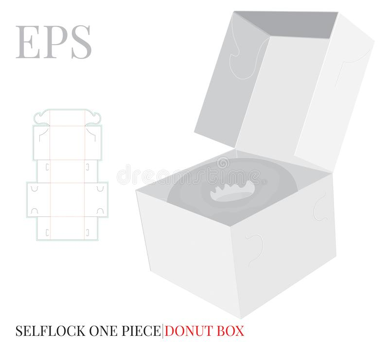 Free Donut Box Template, Vector With Die Cut / Laser Cut Layers. Delivery Box, Single Piece Cake Box, Donut, Self Lock, Cut &  Clear Stock Photos - 146558093