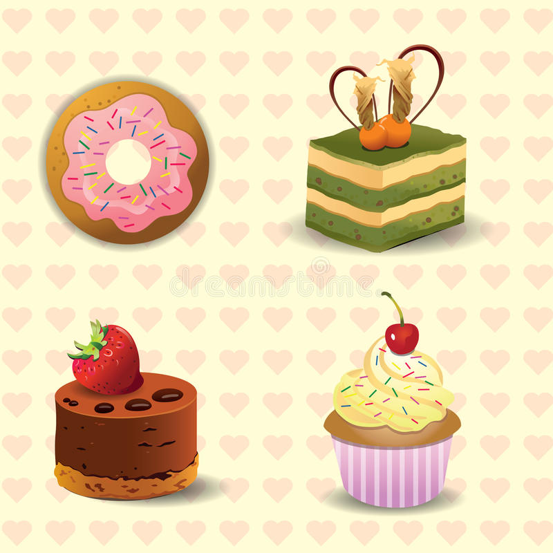Download Donut and cake stock illustration. Illustration of cherry - 14715591
