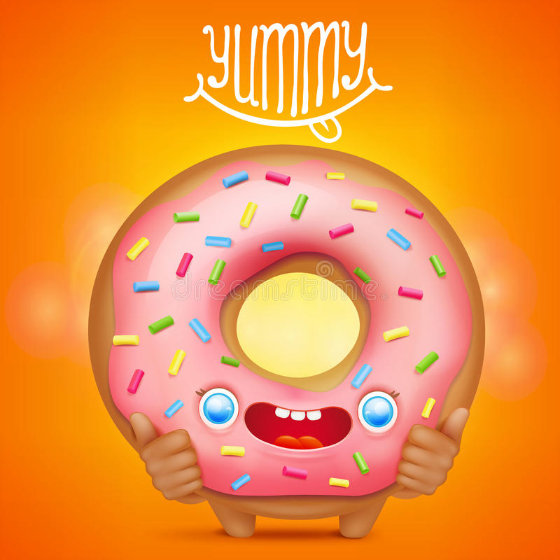 Donut cartoon emoticon character with yummy title vector illustration