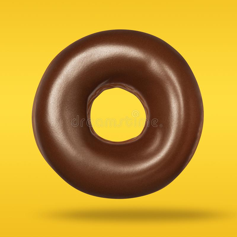 Donut chocolate in flying on pastel orange and yellow background. Doughnut closeup front view royalty free stock photos