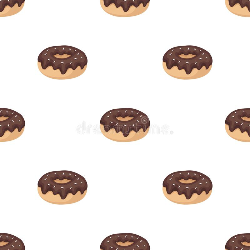 Donut with chocolate glaze icon in cartoon style isolated on white background. Chocolate desserts symbol stock vector. Donut with chocolate glaze icon in cartoon stock illustration