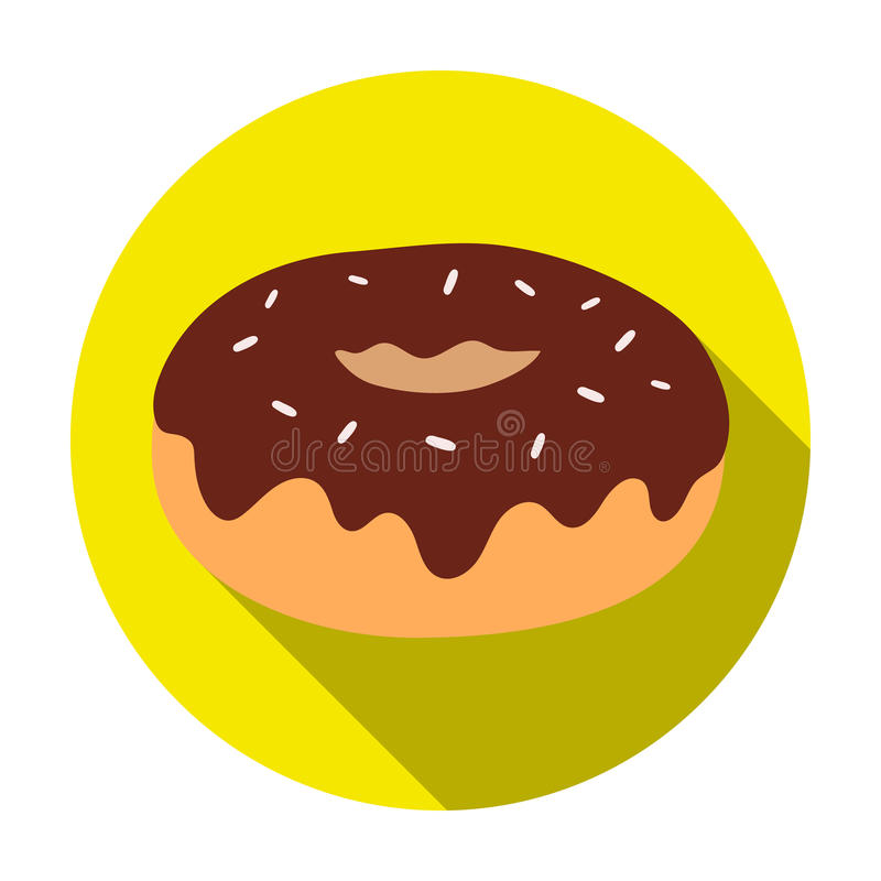 Donut with chocolate glaze icon in flat style isolated on white background. Chocolate desserts symbol stock vector. Donut with chocolate glaze icon in flat royalty free illustration