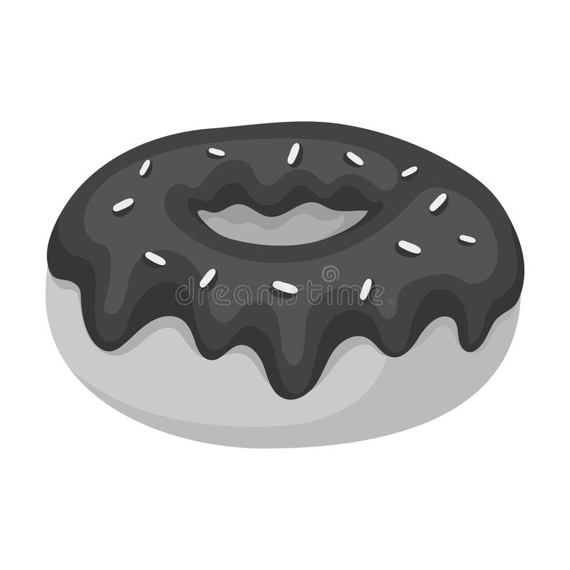 Donut with chocolate glaze icon in monochrome style isolated on white background. Chocolate desserts symbol stock vector. Donut with chocolate glaze icon in stock illustration