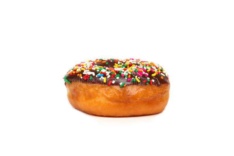 Donut with Chocolate Icing on White Background stock image