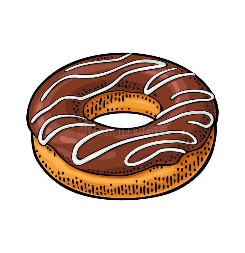 Donut with chocolate icing and white stripes. Vector color engraving. Donut with chocolate icing and white stripes. Vector color hand drawn vintage engraving royalty free illustration