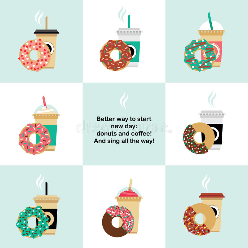 Donut and coffe set. Vector donut and coffee set. Vector template coffee-cup with donut on white background vector illustration