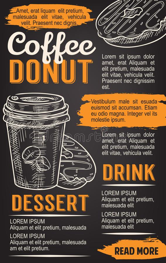 Donut and coffee chalkboard poster template royalty free illustration
