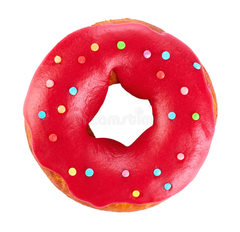 Donut with colored glaze, isolated on white background. royalty free stock photo