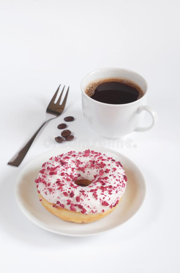 Donut with cream cheese and coffee stock photos