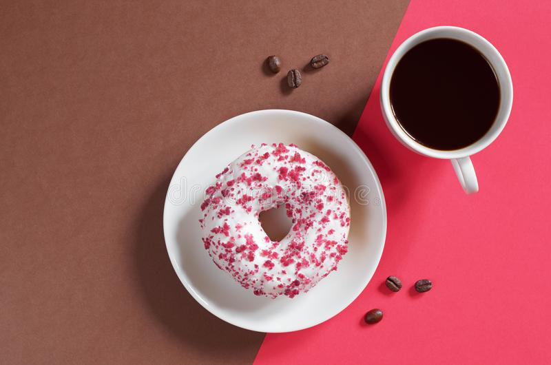 Donut with cream cheese and coffee royalty free stock photography