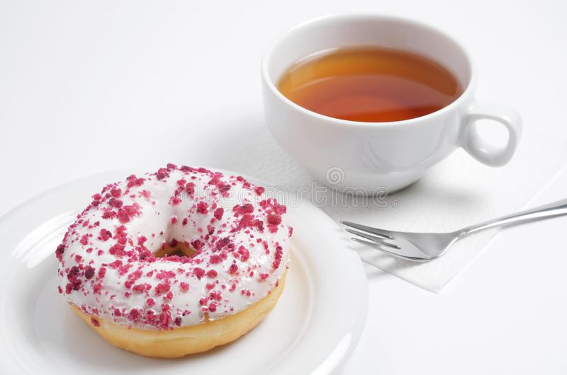 Donut with cream cheese and tea stock photos