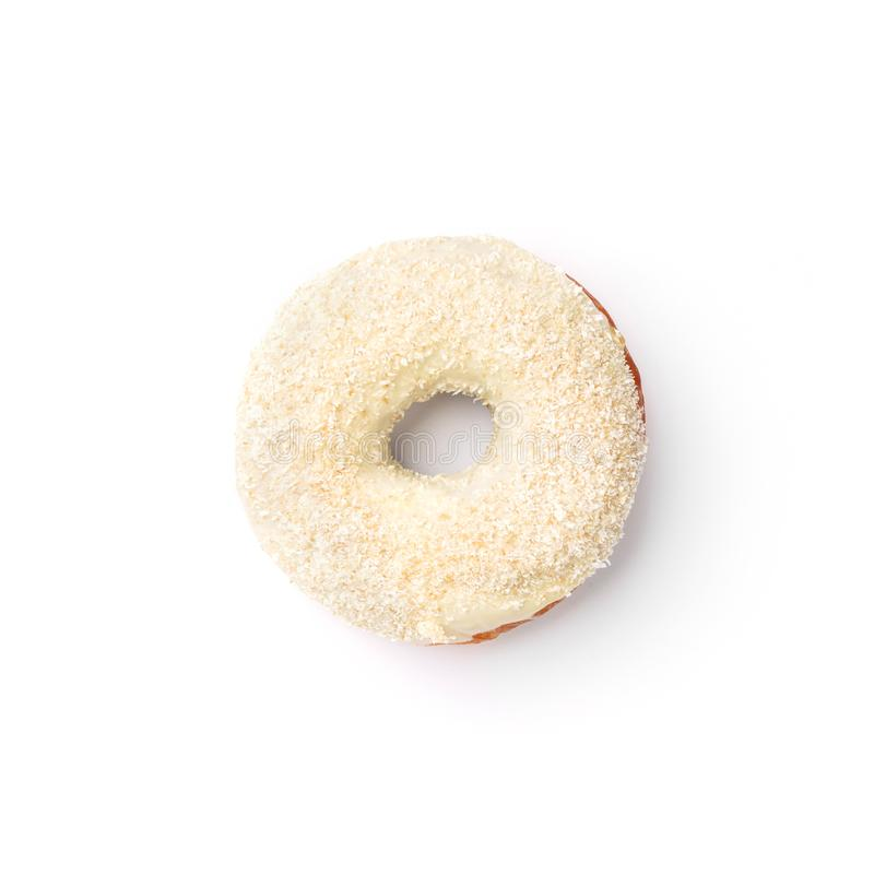 Donut with cream and coconut. Top view. Isolated image.  royalty free stock photo