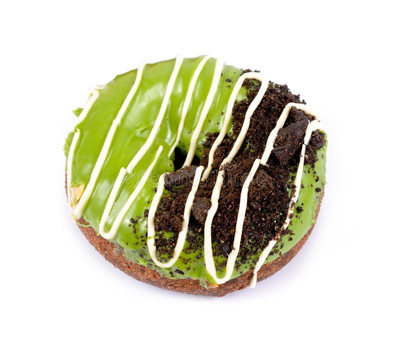 Donut des grünen Tees auf weißem Hintergrund lizenzfreie stockbilder