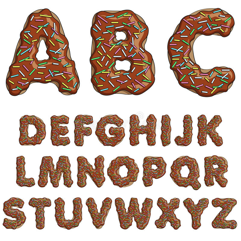 Donut font, tasty alphabets. Isolated objects. EPS10 stock illustration