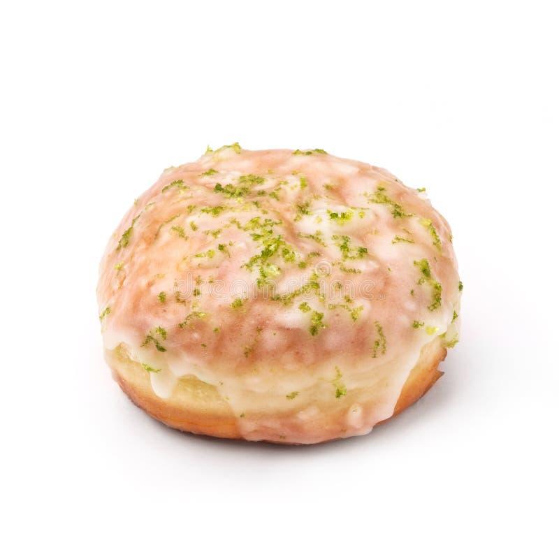 Donut glasiert mit Zucker und Blatt des Verstandes Ansicht von einem fünfundvierzig-Grad-Winkel Lokalisiertes Bild lizenzfreies stockbild