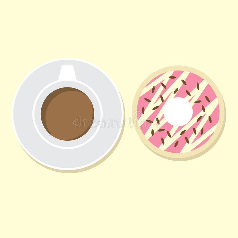 Download Donut And Hot Coffee stock vector. Illustration of sweet - 39507655