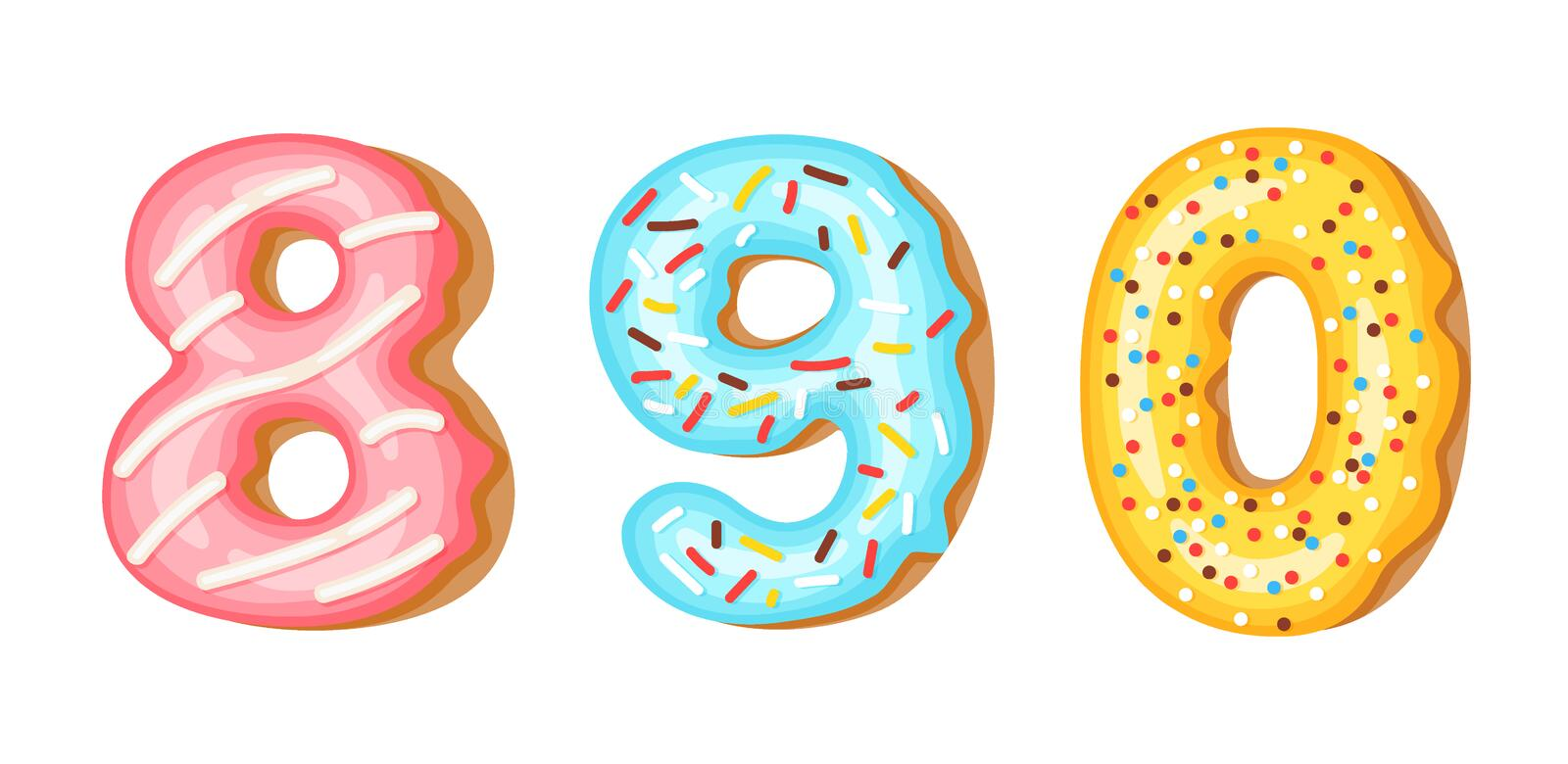 Donut icing numbers digits - 8, 9, 0. Font of donuts. Bakery sweet alphabet. Donut alphabet latters A b C isolated on. White background, vector illustration royalty free illustration