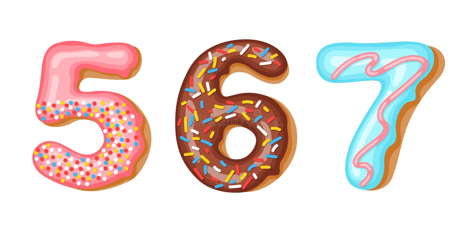 Donut icing numbers digits - 5, 6, 7. Font of donuts. Bakery sweet alphabet. Donut alphabet latters A b C isolated on. White background, vector illustration stock illustration