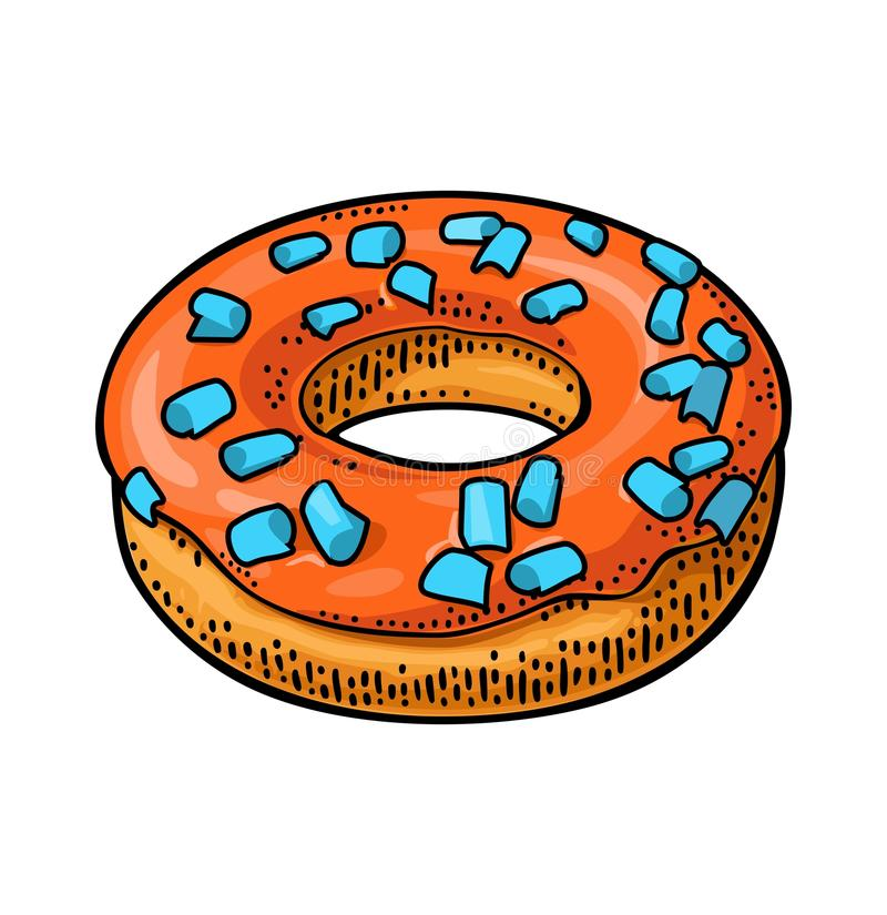Donut with icing and sprinkles. Vector color engraving. Donut with red icing and cyan sprinkles. Vector color flat illustration for poster and menu bakery shop royalty free illustration
