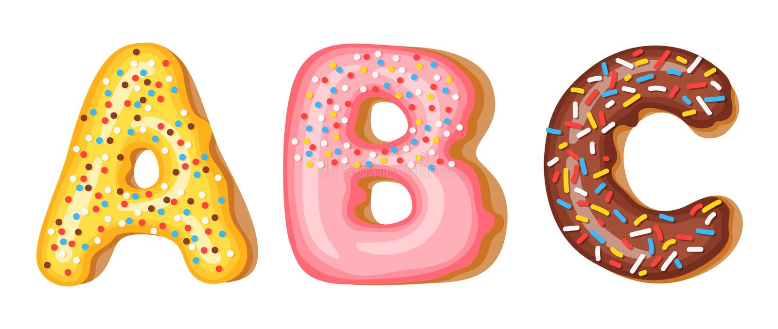 Donut icing upper latters - A, B, C. Font of donuts. Bakery sweet alphabet. Donut alphabet latters A b C isolated on. White background, vector illustration stock illustration