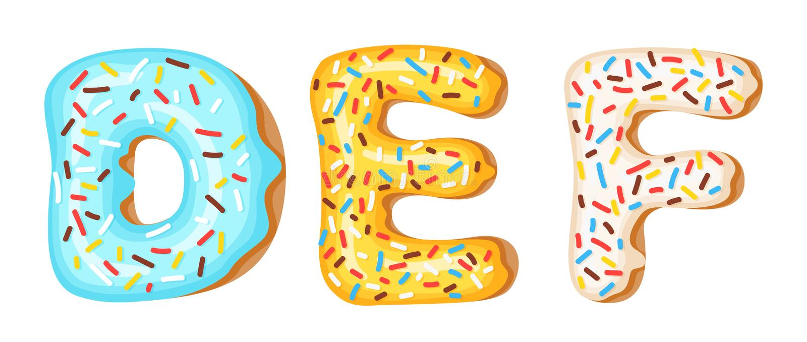 Donut icing upper latters - D, E, F. Font of donuts. Bakery sweet alphabet. Donut alphabet latters A b C isolated on. White background, vector illustration vector illustration