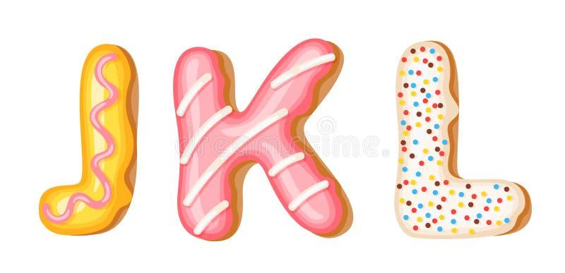 Donut icing upper latters - J, K, L. Font of donuts. Bakery sweet alphabet. Donut alphabet latters A b C isolated on. White background, vector illustration stock illustration