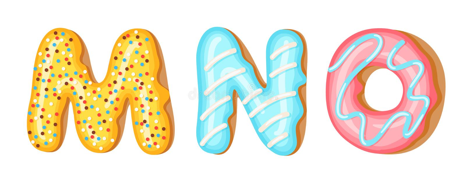 Donut icing upper latters - M, N, O. Font of donuts. Bakery sweet alphabet. Donut alphabet latters A b C isolated on. White background, vector illustration stock illustration