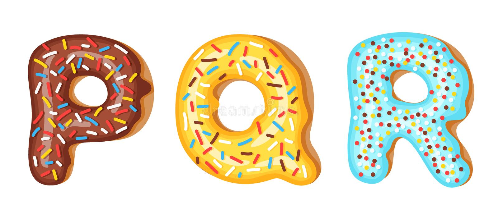 Donut icing upper latters - P, Q, R. Font of donuts. Bakery sweet alphabet. Donut alphabet latters A b C isolated on. White background, vector illustration royalty free illustration