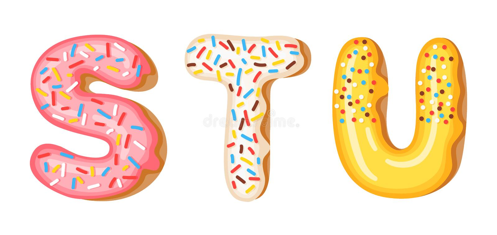 Donut icing upper latters - S, T, U. Font of donuts. Bakery sweet alphabet. Donut alphabet latters A b C isolated on. White background, vector illustration vector illustration